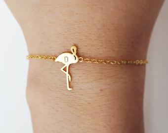 flamingo bracelet, Personalized bracelet, initial bracelet, sterling silver bracelet, friendship bracelet,bird bracelet,animal jewelry