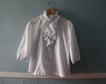 Vintage white ruffled blouse with blue swiss dots / 70s /80's polka dot secretary blouse / Size small to medium