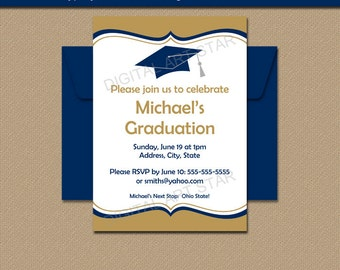 Printable Graduation Invitation Download - Navy Gold Graduation Invitation Printable - EDITABLE PDF - Class of 2017 Invitation Template G1