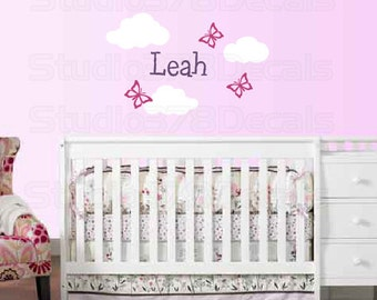 Girl Name Wall Decal | Butterfly Wall Decal | Baby Girl Nursery Clouds | Personalized Name Decal | Nursery Vinyl Decals | Toddler Room Decor