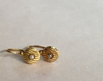 Vintage French tiny pearl Dormeuse Earrings, in 18K Gold