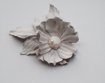 White leather flower brooch, Leather brooch, Handmade flower, Bridesmaid flower, Mother of the bride flower, Mothers day gift