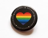 Love is Love button, LGBT Pin, Pinback buttons, Lapel Pin, Tolerance, Same Sex Marriage, Heart Pin, Rainbow Heart, Love is love pin (5790)