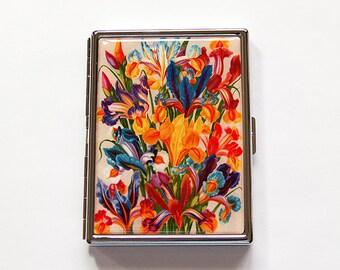 Floral Cigarette Case, Slim Cigarette Case, Cigarette Holder, Cigarette box, Floral, Flower Cigarette Case, Bright Colors (6012)