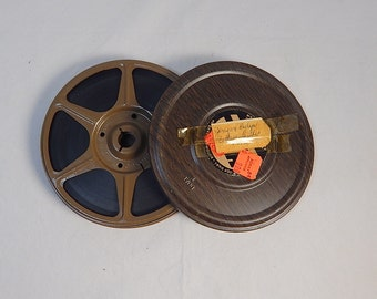 Vintage Movie Canister and Reel Dual 8 Brown Woodgrain 1970's with Film Home Theater Decor