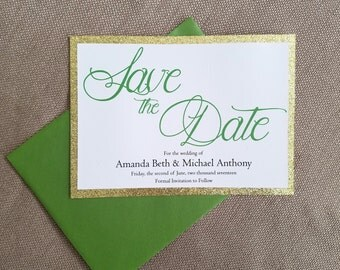 Glitter Save the Date - Gold and Green - Custom colors available