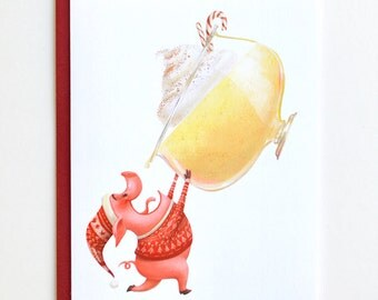 Pig Christmas Card - Egg Nog Holiday Card, Blank Card