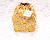 VintageKitchen Pyrex fabric, Reversible Drawstring Project Bag with handle, Knitting Project bag, Reversible project bag, crochet bag