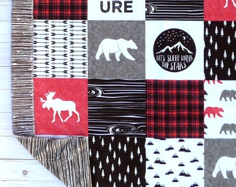 Baby Blanket - Faux Patchwork Quilt - Moose Baby Blanket - Bear Baby Blanket - Baby Gift - Baby Blanket Boy - Minky Baby blanket - Black Red