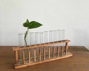 vintage wooden test tube bud vase. vintage scientific test tube holder. mid century test tube stand. test tube holder. test tube rack.