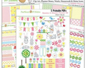 Planner Kit! Bunnies Stickers Kit Rabbits Spring Passover Easter Pink Yellow Pink and Blue Over 300 Stickers EC & Happy Planner