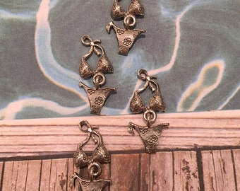 Bikini Bathing Suit Charms -4 pieces-(Antique Pewter Silver Finish)