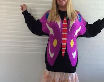 Vintage Oversized Butterfly Chunky Sweater