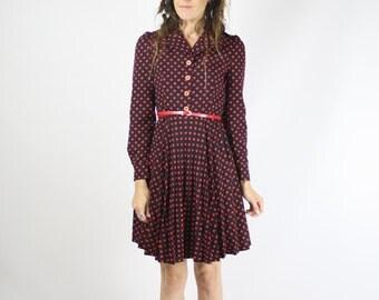 60s Polka Dot Mini Dress, Mod Sixties Shirt Dress, Navy blue Red Shirt dress, XS