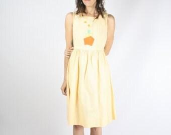 70s appliqué dress, Nautical ship Pinstripe cotton dress, Apricot Kawaii Summer dress, Small