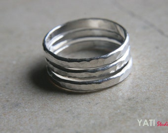 Three Silver Stacking Rings, Rings Set - Handmade Jewelry, Hammered Silver Jewelry, Sterling Silver stacking Rings