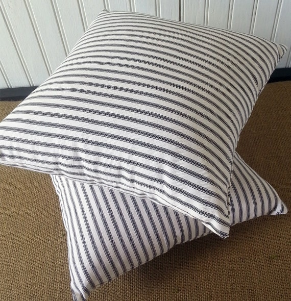 Small Black Decorative Pillow : Small Black Ticking Pillow 12 x 12 Pillow Cover by PillowMakers