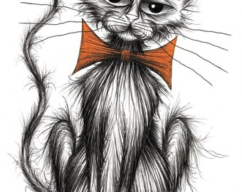 Tiddles the cat Print download Slightly scrruffy pet puss kitty moggie with grumpy miserable face and thin tail wearing orange bow tie