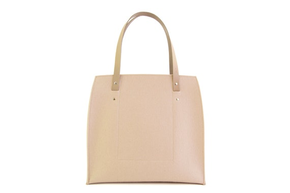 SALE - Felt LARGE TOTE with leather straps / wool felt / felt bag / wool felt bag / felt tote / cream bag / beige bag / made in Italy