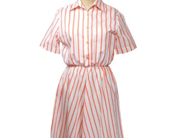 vintage 1980s striped shirtdress / Haband for Her / cotton blend / orange white creamsicle / women's vintage dress / size 8P