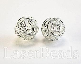 18mm 6pc Silver wire balls wire mesh beads Round silver beads Round wire beads Silver color Metal Jewelry supplies last
