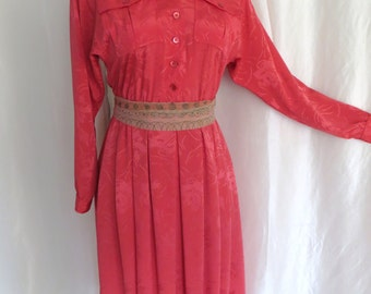 Vintage ladies dress tangerine orange shirtwaist long sleeve collar