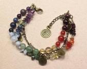 Multistrand 7 Chakra Bracelet - Reiki Jewelry Reiki Bracelet Root Sacral Solar Plexus Heart Throat Brow Crown Chakras Balance Multi-strand