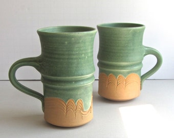 Studio Pottery, Two Green Mugs, by Enelleman, Wave Design, Vintage Pottery, Stoneware with Scratch Design, Well designed, Functional Pottery