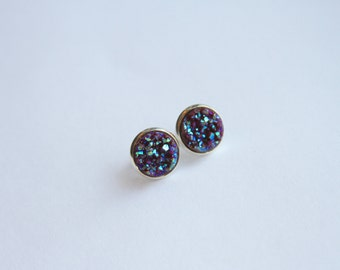 Chocolatey Dark Maroon Rainbow Chunky Glitter Faux Druzy Earrings - Studs/Posts 12mm LARGE (D25)