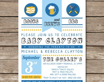 Books Brews BBQ Baby Shower Invitation New Baby Digital Or Print Copy Custom Barbecue Cookout