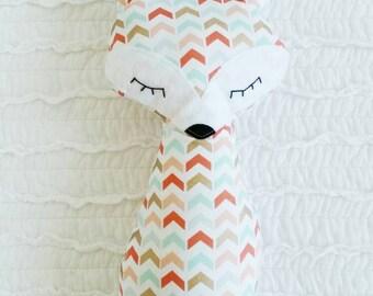 Fox Stuffed Animal/ Sleepy Fox Pillow/ Fox Accent Pillow/ Woodland Nursery Decor/ Baby Toy/ Fox Nursery Decor/ Nursery Room/ Fox Plus Toy
