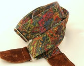 Stained Glass Mosaic Guitar Strap with Suede Leather