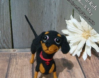 Black & Tan Dachshund Puppy, Needle felted Dachshund, Dachshund Puppy, Dachshund gifts,Dachshund Art, Doxie