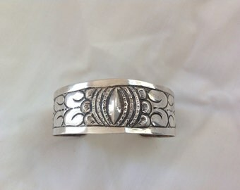 Antique 900 Silver Ornate Repousse Mexican Cuff Bracelet