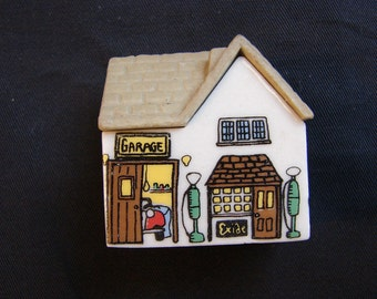 Wade Whimsey on Why Village, Service Station, Porcelain Miniature House Wade House Wade Whimsies
