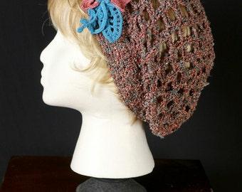 Crochet beret Lace hats Womens summer slouchy hats Crocheted chemo cap Lightweight slouchy beret Net beanies Boho hippie crochet mesh hat