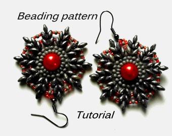 Beaded earrings. Superduo Earrings Pattern. Beading Tutorial. Beading pattern PDF. Instant download.