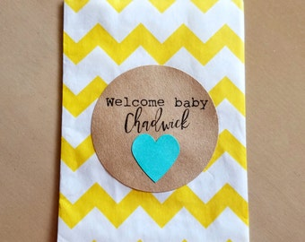 Welcome baby stickers - 20 - 2 inch circle stickers - baby shower envelope seals