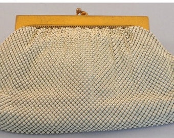 Whiting and Davis Vintage White Mesh Purse Clutch- Amazing