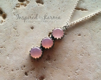 Chalcedony Necklace,Pink Chalcedony Necklace,Bridal Necklace,Pendant,Pink Pendant Necklace,Boho Necklace,Layer Necklace,Wedding Jewelry