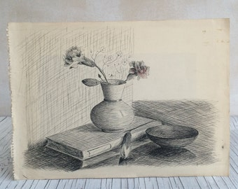 1950s original pen and ink drawing. Black and white sketch of carnations. Still-life.