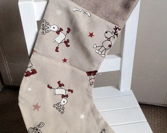 Handmade reindeer Christmas stocking