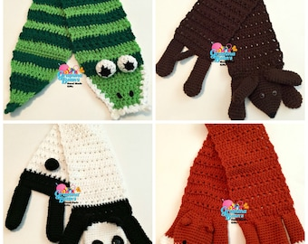 Silly Animal Scarves Crochet Pattern