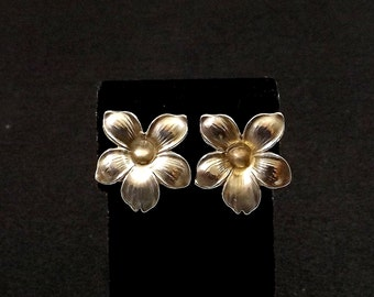 Sterling Silver Blossom Screw Back Earrings