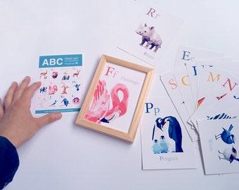 ABC cards, Alphabet art, Animal alphabet, Nursery alphabet, Baby nursery art, Geometric prints, Alphabet flash cards, Baby gift