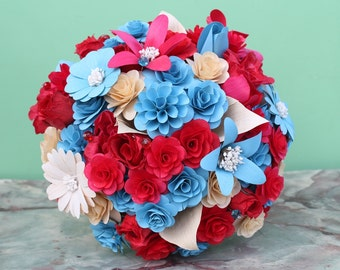 Red and Blue  Wooden Bouquet for Wedding and Home Decor Centerpiece