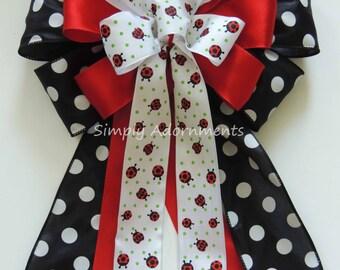 Ladybug baby shower Decor Ladybug birthday party decor Red Black Wedding Pew Bow Ladybug party Decor Ladybug Wedding Pew Bow