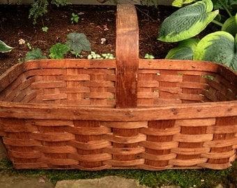 Large Antique Oak Splint Basket - Antique Splint Oak Basket with Handle - Extra Large Country Rustic Wedding Basket