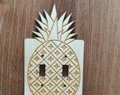 Wood Laser Cut Pineapple Light Switch Plate / Cover (double switch)