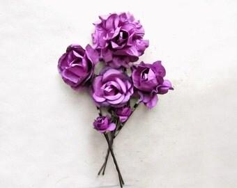 Orchid Purple Hair Accessories. Rich Purple Flower Hair Clip Set. Wedding Hair Flowers. Purple Paper Flowers. Cute Bridesmaid Hair Pins Gift
